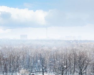 snowfall over city and forest in spring