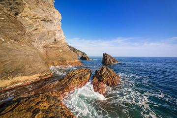 Beautiful coastline of Ligurian Sea, Italy