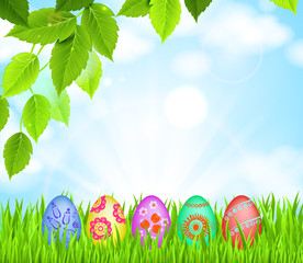 Easter eggs in Green Grass on the glade