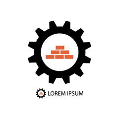 Construction logo wih gear wheel and bricks