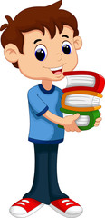 Cartoon boy bring pile of books