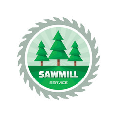 Sawmill service - vector logo concept illustration in flat style