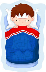 Sick kid lying in bed