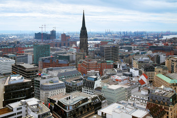 View of Hamburg and St. Nicholas church, Germany