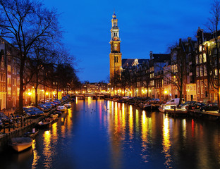 Evening view on the Western church in Amsterdam
