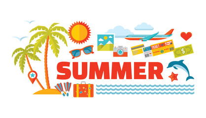 Summer travel - vector logo word with icons in flat style.