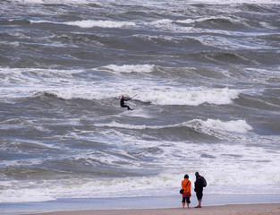 Kite surfer in Denmark on a stormy day