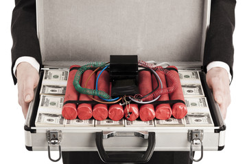 Crime Bomb inside case with money