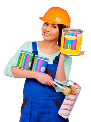 Women builder  with construction tools.