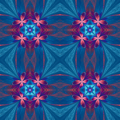 Symmetrical flower pattern in stained-glass window style on blue