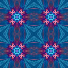 Symmetrical flower pattern in stained-glass window style on blue