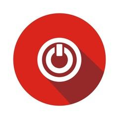 Icono on rojo botón sombra