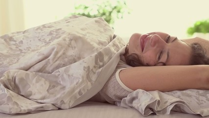 Sleeping girl wakes up