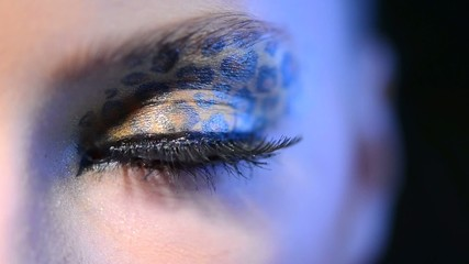 Beauty Girl with Leopard Makeup