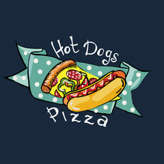Illustration drawing of hot dogs and pizza with ribbon on a dark