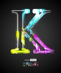 Vector Design Light Effect Alphabet. Letter K
