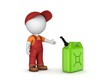 Colorful gasoline jerrycan and 3d small person. - 81978611