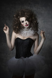 girl with gothic clown make-up
