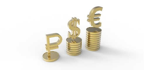 dollar,  euro,  ruble