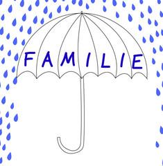 Familie mit Schirm