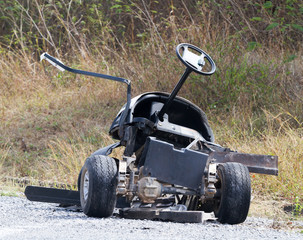 Golf cart accident  in golf course.