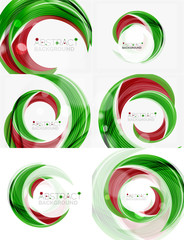 Vector green swirl line abstract background