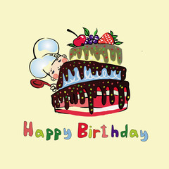 Illustrations cook for a large cake with berries birthday with