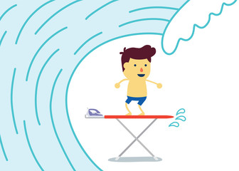 Kids play with stand on Iron table look like surfing