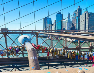 Love locks on the Brooklyn Bridge, New York