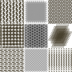 Set of 9 abstract vintage geometric wallpaper. NO seamless patte