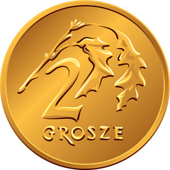 reverse  Polish Money two groszy copper coin