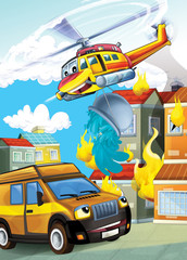 The car and the flying machine - illustration