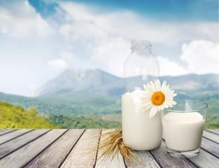 Milk. Milk bottle and glass