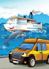 The car and the boat - illustration for the children
