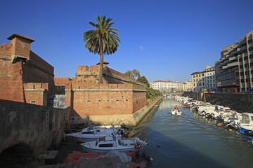 Toscana,Livorno,canale e Fortezza Nuova