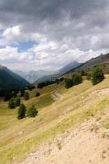landscape of the Alps between Italy and France