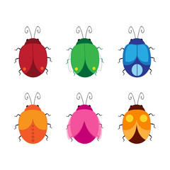Set of cartoon beetles. Vector cute bugs.