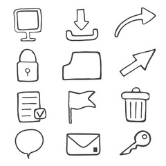 Set of drawing icons for web and computer.