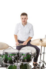 Young player on drums