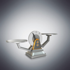 Business concept. Scales on grey background.
