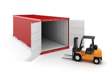3d cargo container and boxes,  industry transport concept.