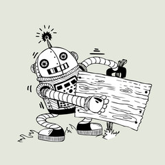 cheerful robot with the board for information on a light