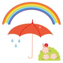 雨上がりの虹,傘,かたつむりセット