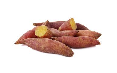 boiled sweet tiny potato on white background