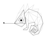 Fototapety Chameleon. Low polygon linear vector illustration