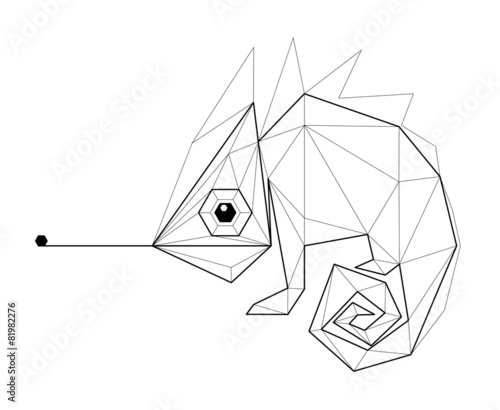Chameleon. Low polygon linear vector illustration - 81982276