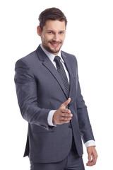 businessman handshake isolated white background