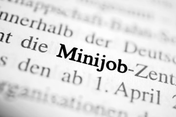 Minijob - schwarz-weiß Text