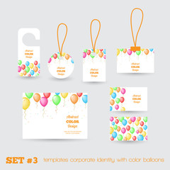 Set of templates corporate identity with color balloons