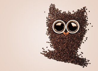 Owl. Conceptual owl made with coffee beans and cups